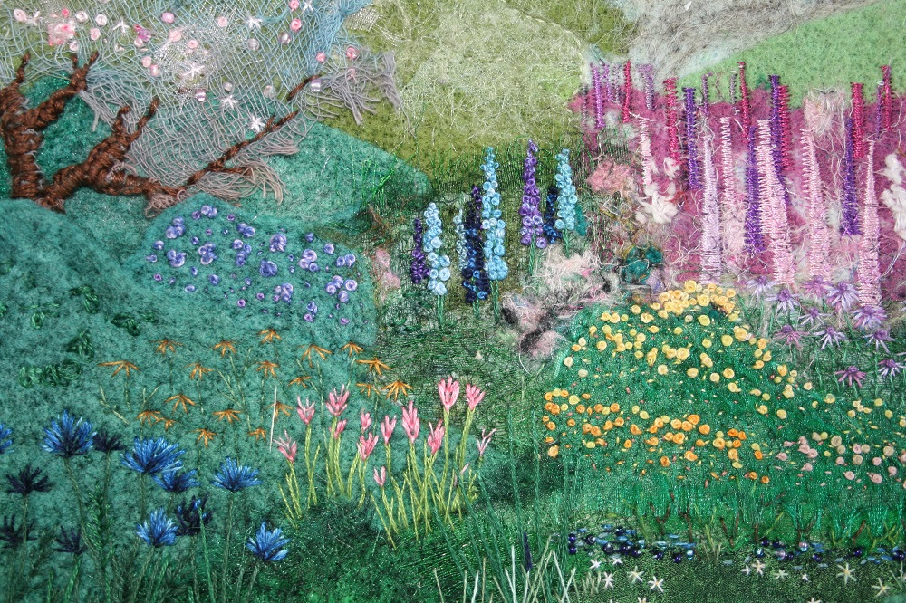 Example of work from artist Worcester Embroiderers' Guild- exhibiting in the gardens in 2018